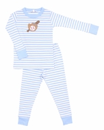 Magnolia Baby Little Boys Blue Baseball Applique Long Pajamas