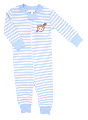 Magnolia Baby / Toddler Boys Blue Baseball Applique Zipped Pajamas