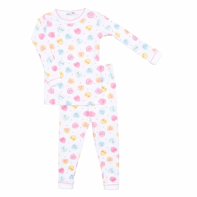 Magnolia Baby Little Girls Be Mine Long Sleeve Pajamas - Pastel Valentine Hearts