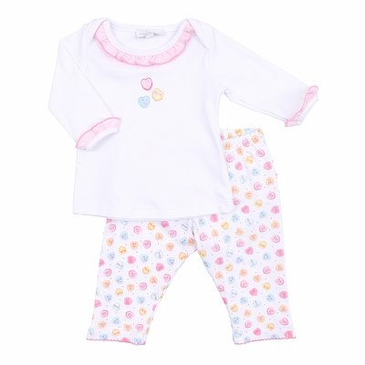 Magnolia Baby Girls Be Mine Pastel Valentine Hearts Printed Pant Set