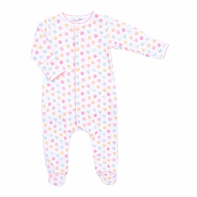 Magnolia Baby Girls Be Mine Printed Ruffle Footie - Pastel Valentine Hearts