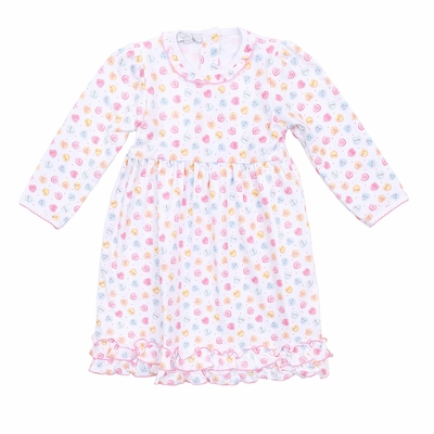 Magnolia Baby Girls Be Mine Printed Dress - Pastel Valentine Hearts