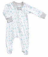Magnolia Baby Boys Blue Best Buddy Dog Printed Zipped Footie
