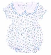 Magnolia Baby Girls Bethie's Garden Blue Floral Bubble with Collar