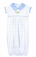 Magnolia Baby Boys Alligator Pie Print Gown - Blue