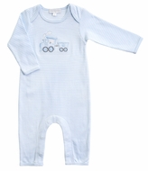 Magnolia Baby Boys Blue Choo Choo Applique Playsuit Romper
