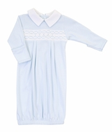 Magnolia Baby Boys Blue Cora and Cole's Classics Smocked Collared Gown