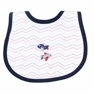 Magnolia Baby Boys Blue In Flight Embroidered Airplane Bib
