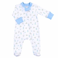Magnolia Baby Boys Blue Putting Around Golf Zipped Footie