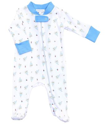 Magnolia Baby Boys Blue Vintage Sailboat Printed Zipped Footie