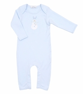 Magnolia Baby Boys Frosty Fun Applique Snowman Playsuit Romper - Blue