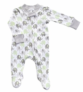 Magnolia Baby Boys / Girls Elephant Printed Zipped Footie - Green & Gray