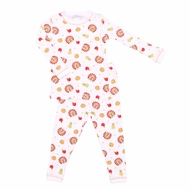Magnolia Baby Boys / Girls Gobble Gobble Long Sleeve Pajamas - Thanksgiving Turkey Print