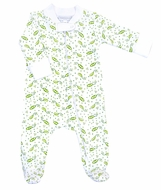 Magnolia Baby Boys / Girls Green Tiny Sweet Pea Print Zipped Footie