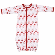 Magnolia Baby Boys / Girls Red / White Santa Faces Printed Converter Gown