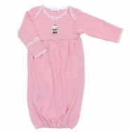 Magnolia Baby Boys / Girls Santa's Helper Embroidered Gown - Red Stripes