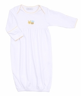 Magnolia Baby Boys / Girls Tiny Bee Embroidered Gathered Gown