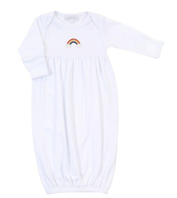 Magnolia Baby Boys / Girls White Gathered Gown Rainbow Embroidery