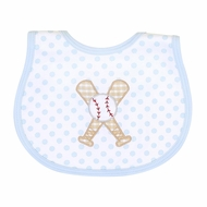 Magnolia Baby Boys Grand Slam Baseball Applique Bib - Blue