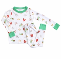 Magnolia Baby Boys Green Fall Farm Long Pajamas