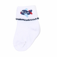 Magnolia Baby Boys In Flight Embroidered Airplane Socks