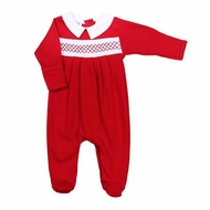 Magnolia Baby Boys Julie & James Classics Red Smocked Footie with Collar - Boy