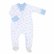 Magnolia Baby Boys My Little Star Clouds Printed Zipped Footie - Blue