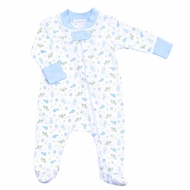 Magnolia Baby Boys Ocean Wonders Printed Zipped Footie - Blue