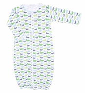 Magnolia Baby Boys Oh Snap! Green / Blue Alligators Print Converter Gown