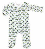 Magnolia Baby Boys Oh Snap! Printed Alligators Zip Footie - Blue / Green