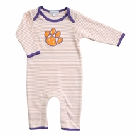 Magnolia Baby Boys Orange / Purple Tigers Paw Romper Playsuit