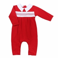 Magnolia Baby Boys Red Julie and James Classics Smocked Collared Playsuit