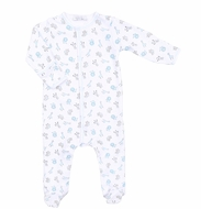 Magnolia Baby Boys Safari Baby Animals Printed Footie - Blue