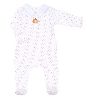 Magnolia Baby Vintage Pumpkin White Embroidered Collared Footie - Boy