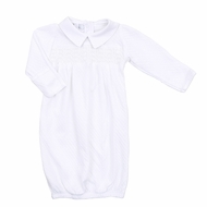 Magnolia Baby Zach and Zoe's Classics White Smocked Gown with Collar - Boys