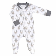 Magnolia Baby Boys Tan Buck Printed Zipped Footie
