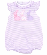 Magnolia Baby Girls Easter Bunny Applique Girl Bubble - Purple