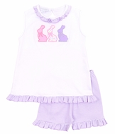 Magnolia Baby Little Girls Easter Bunny Applique Ruffle Short Set - Purple