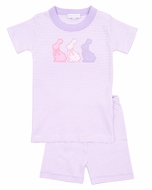Magnolia Baby Little Girls Easter Bunny Applique Short Pajamas- Purple