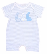 Magnolia Baby Boys Easter Bunny Applique Short Playsuit Romper - Blue