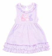 Magnolia Baby Girls Easter Bunny Applique Sleeveless Dress Set
