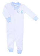 Magnolia Baby / Toddler Boys Easter Bunny Applique Zipped Pajamas - Blue