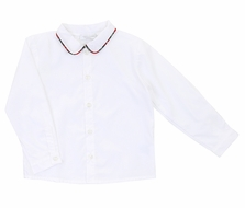 Il Tesoro di Magnolia Baby Boys White Shirt - Red Holiday Plaid Trim