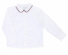 Il Tesoro di Magnolia Baby Little Boys White Shirt - Red Holiday Plaid Trim