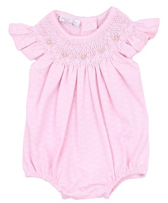 Magnolia Baby Girls Catherine and Caleb's Classics Smocked Bubble - Pink