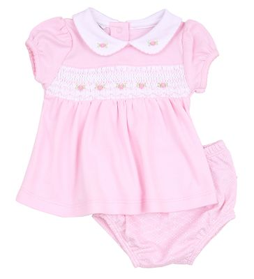 Magnolia Baby Girls Catherine and Caleb's Classics Smocked Diaper Set - Pink