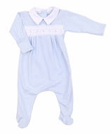 Magnolia Baby Boys Catherine and Caleb's Classics Smocked Footie - Blue