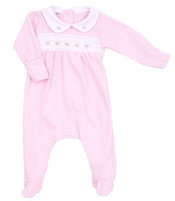Magnolia Baby Girls Catherine and Caleb's Classics Smocked Footie - Pink