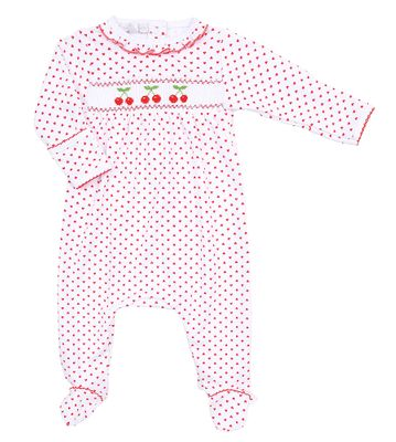 Magnolia Baby Girls Red Cherry on Top Smocked Footie