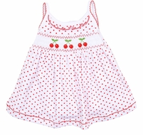 Magnolia Baby Girls Red Cherry on Top Smocked Sleeveless Dress Set